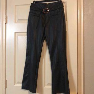 Zara Trafaluc Faux-Leather Pants w/ Gold Belt